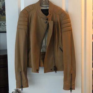 Coach leather moto jacket - camel size 00